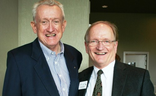 Ralph Munro long time supporter of Morningside with Jim Larson CEO at Morningside's 50th Anniversary celebration